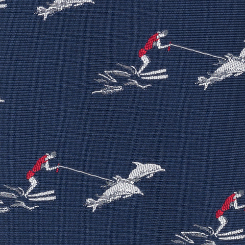 TURNBULL & ASSER Exclusive Handmade Navy Blue Water-Skiing Dolphins Silk Tie NEW