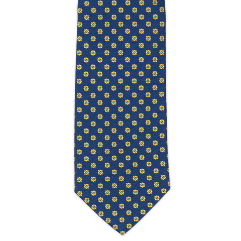 TURNBULL & ASSER Exclusive Handmade Navy Blue Yellow Floral Silk Tie NEW