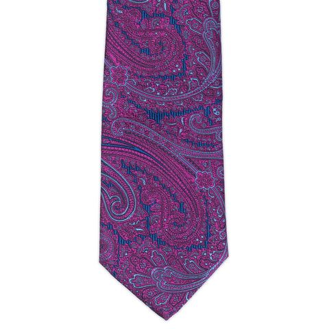 TURNBULL & ASSER Exclusive Handmade Purple Paisley Jacquard Silk Tie NEW