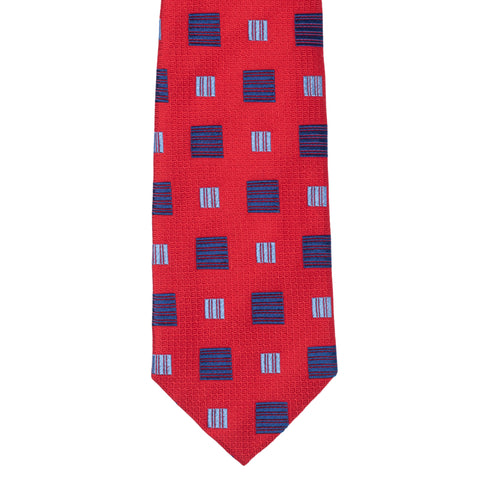 TURNBULL & ASSER Exclusive Handmade Red Square Jacquard Silk Tie NEW