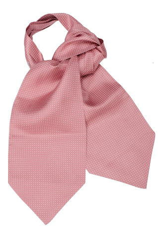 TURNBULL & ASSER Hand Made Pink White Mini Spot Silk Ascot Tie NEW