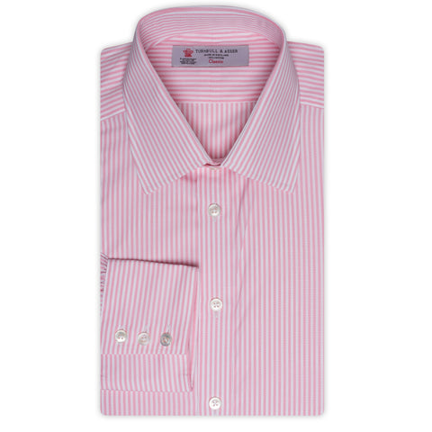 TURNBULL & ASSER Pink Bengal Striped Cotton Classic T&A Dress Shirt NEW Regular
