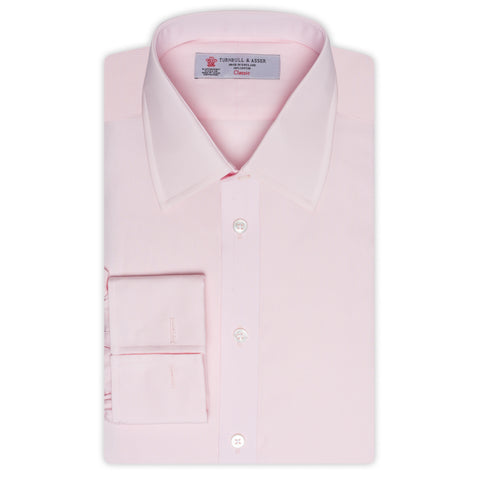 TURNBULL & ASSER Pink Cotton Classic T&A French Cuff Dress Shirt NEW Regular Fit