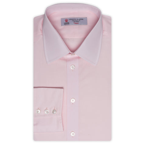 TURNBULL & ASSER Pink Poplin Cotton Classic T&A Dress Shirt NEW Regular Fit