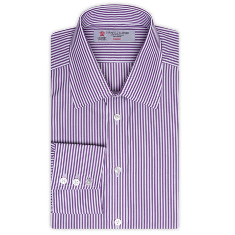 TURNBULL & ASSER Purple Striped Cotton Classic T&A Dress Shirt NEW Regular Fit