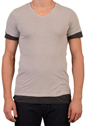 UNCONDITIONAL Gray Cotton Dual Layer T-Shirt EU 50 NEW US M - SARTORIALE - 1