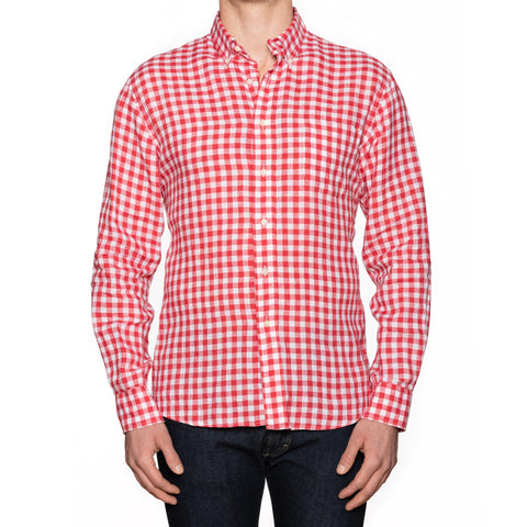 UNIONMADE Red Gingham Check Linen Button-Down Casual Shirt NEW US L
