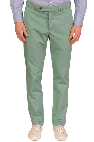 "UNIS ""GIO"" Light Green Twill Cotton Slim Fit Casual Pants EU 50 US 33"