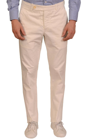 "UNIS ""GIO"" Off-White Twill Cotton Straight Fit Casual Pants EU 50 NEW US 33"