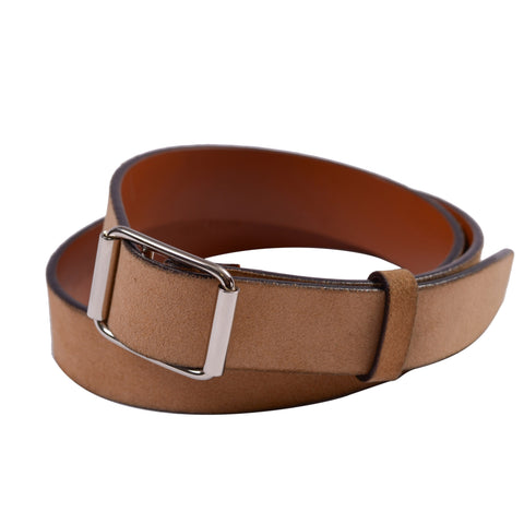 VALEXTRA Beige Suede Leather Belt with Rectangular Silver Buckle 85 cm/ 34""