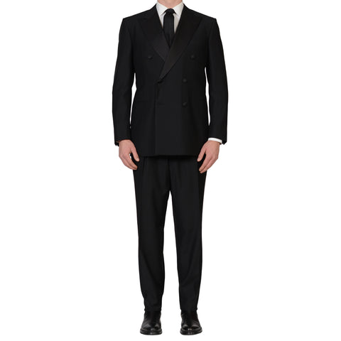 D'AVENZA Handmade Black Wool Super 130's Tuxedo DB Suit EU 54 NEW US 44