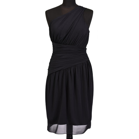 VERA WANG Black One Shoulder Warp Dress EU 38 NEW US 4