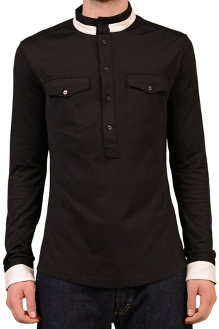 VERSACE Black Cotton Stretch Mercerized Long Sleeve Henley Top 48 NEW S - SARTORIALE - 1