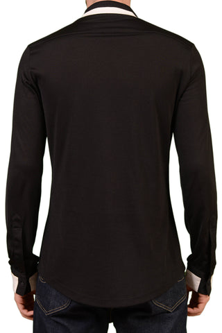 VERSACE Black Cotton Stretch Mercerized Long Sleeve Henley Top 48 NEW S - SARTORIALE - 2