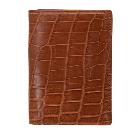 VIA LA MODA Brown Nile Crocodile Leather Card Holder NEW