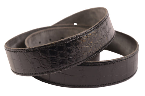 VIA LA MODA Hand-Stitched Black Croc Skin Leather Belt Without Buckle 90 cm/ 36""