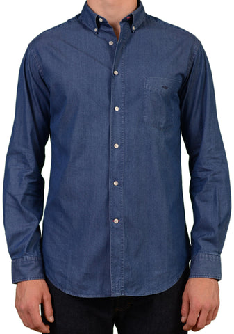 VICOMTE A. Solid Blue Cotton Denim Casual Shirt US M EU 50 - SARTORIALE - 1