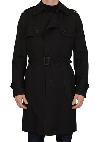 VIKTOR & ROLF Black Wool Trench Runway Coat Removable Lining EU 48 NEW US 38
