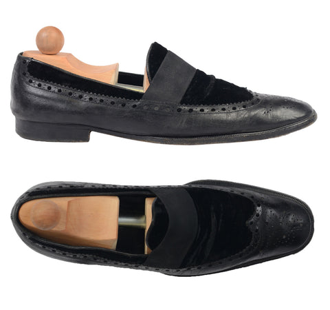 YVES SAINT LAURENT By TOM FORD Black Leather Brogue Slip-on Shoes Loafer 43 US10