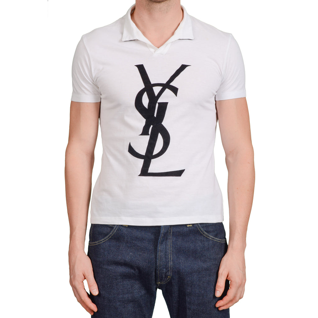 1337d3dcaec9 YVES SAINT LAURENT Rive Gauche by Tom Ford White YSL Big Logo Polo Shirt  Size M