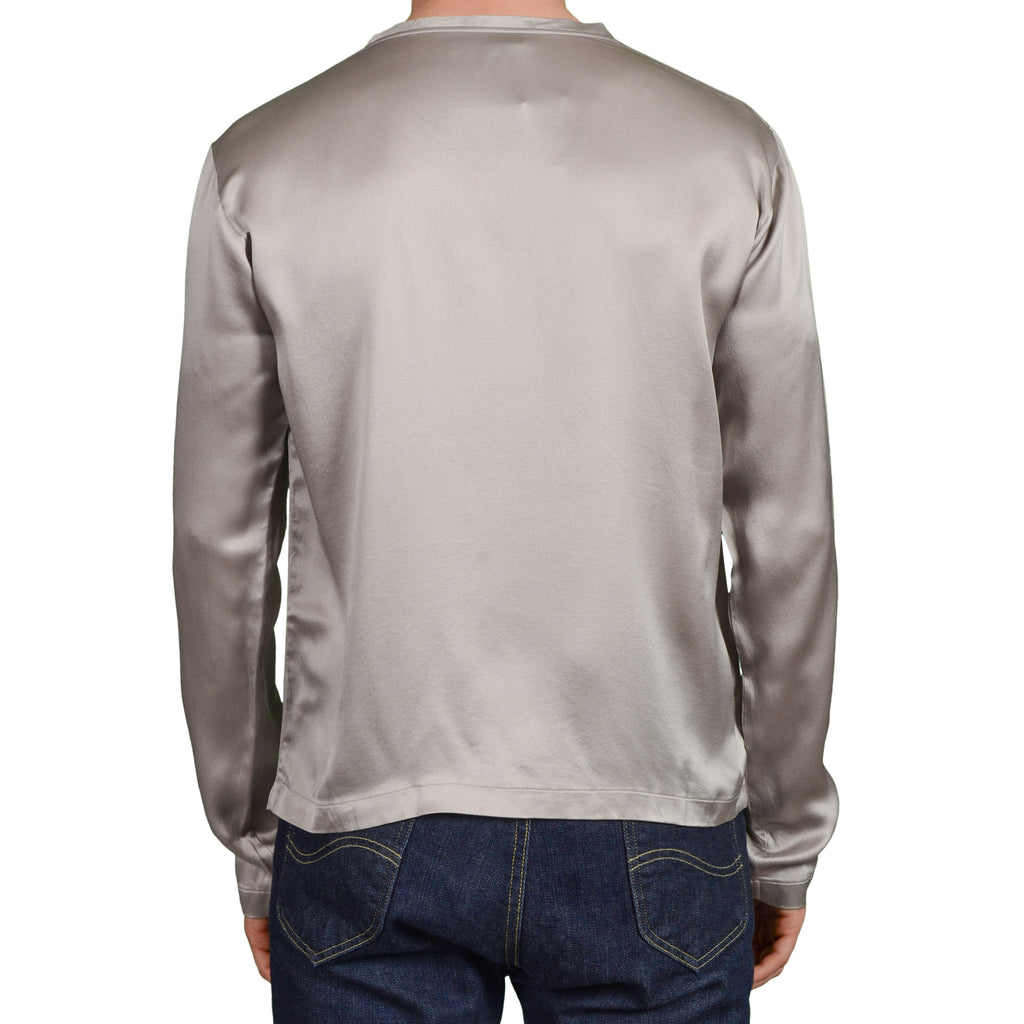 56ec0b1fba30 YVES SAINT LAURENT Rive Gauche by Tom Ford Gray Silk Crewneck T-Shirt NEW US