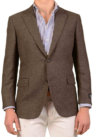 BELVEST Hand Made Brown Hopsack Wool Cashmere Blazer Jacket NEW Short