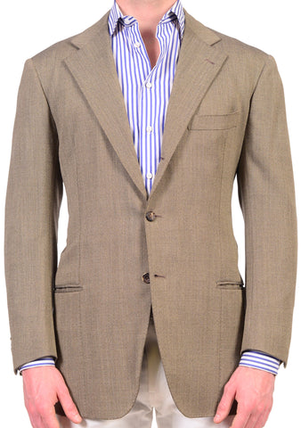 RUBINACCI LH Hand Made Bespoke Solid Taupe Wool Jacket EU 52 US 42 - SARTORIALE - 1