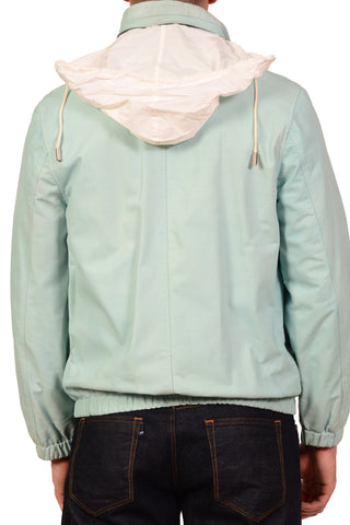 KITON Napoli Solid Light Blue Leather Hidden Hooded Jacket EU 48 US 38 - SARTORIALE - 5