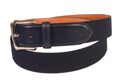 "KITON Handmade Blue Canvas-Calf Leather Casual Belt 115 cm 46"" NEW With Box - SARTORIALE - 1"