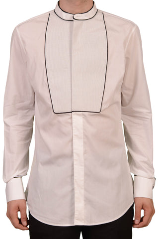 DSQUARED Made In Italy White Cotton Tuxedo Collarless Dress Shirt EU 50 NEW US M