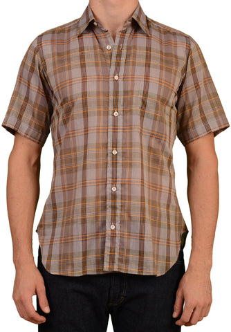 RUBINACCI Napoli Gray Plaid Cotton Short Sleeve Shirt 39 NEW 15.5 Regular Fit