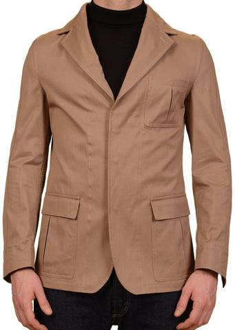 SARTORIO Napoli by KITON Brown Cotton Hidden Hooded Jacket Coat 48 NEW US 38