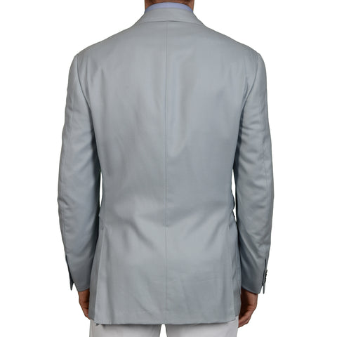 D'AVENZA Handmade Light Blue Cashmere Silk Blazer Jacket EU 50 NEW US 40