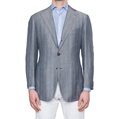CESARE ATTOLINI Blue Gray Herringbone Wool Linen Unlined Blazer Jacket 50 NEW 40