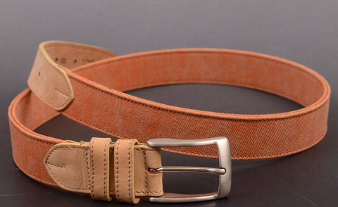 "RUBINACCI Napoli ""CINT-P04"" Canvas-Leather Beige & Orange Belt NEW Made In Italy - SARTORIALE - 1"