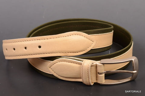 RUBINACCI Napoli Made In Italy Canvas/Leather Green&Cream Belt NEW - SARTORIALE - 1