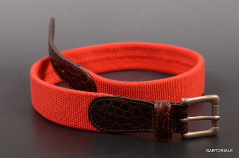 "RUBINACCI Napoli Made In Italy Red-Brown Leather & Cotton Belt 80 cm / 32"" NEW - SARTORIALE - 1"