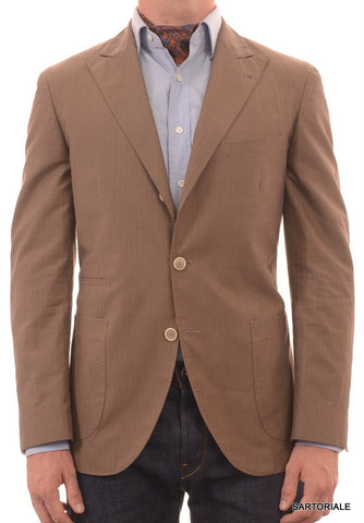 BRUNELLO CUCINELLI Brown Herringbone Cotton Peak Lapel Jacket 40 NEW 50 Slim Fit - SARTORIALE - 1