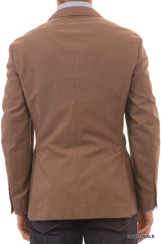 BRUNELLO CUCINELLI Brown Herringbone Cotton Peak Lapel Jacket 40 NEW 50 Slim Fit - SARTORIALE - 2