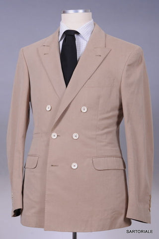 BRUNELLO CUCINELLI Tan Cashmere Double Breasted Peak Lapel Jacket 48 NEW 38 36 - SARTORIALE - 1