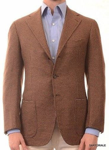 CESARE ATTOLINI Hand Made Brown Houndstooth Cashmere Jacket EU 50 NEW US 38 40 - SARTORIALE - 1
