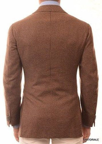 CESARE ATTOLINI Hand Made Brown Houndstooth Cashmere Jacket EU 50 NEW US 38 40 - SARTORIALE - 4