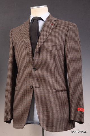 "ISAIA NAPOLI ""Base L"" Brown Shepherd's Check Wool-Cashmere Jacket NEW - SARTORIALE - 1"