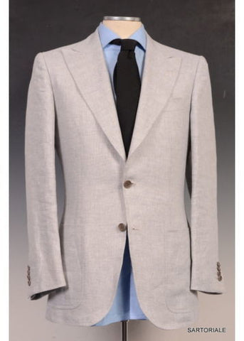 KITON Napoli CIPA 1960 Solid Gray Cotton Peak Lapel Jacket 36 NEW 46 R9 Slim Fit - SARTORIALE - 1