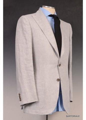 KITON Napoli CIPA 1960 Solid Gray Cotton Peak Lapel Jacket 36 NEW 46 R9 Slim Fit - SARTORIALE - 2