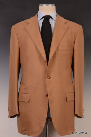 KITON Napoli Hand Made Brown Herringbone Cashmere Blazer Jacket EU 58 NEW US 48 - SARTORIALE - 1