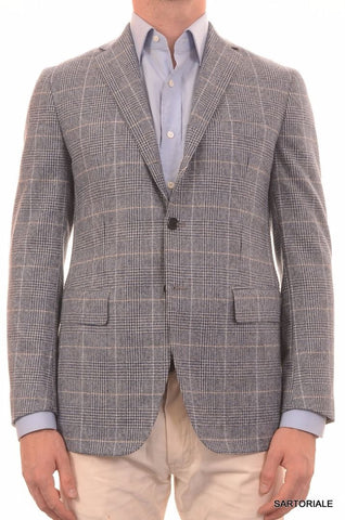 Sartoria PARTENOPEA Hand Made Blue Plaid Lamb's Wool Jacket US 38 NEW EU 48 R7 - SARTORIALE - 2