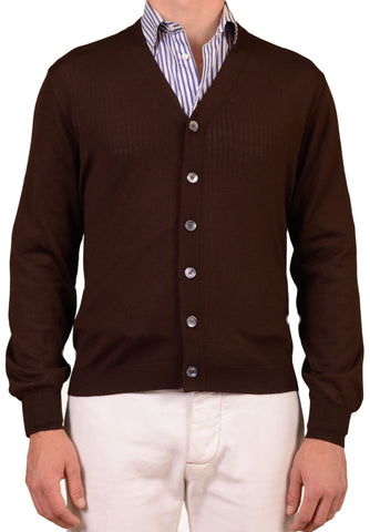 BRUNELLO CUCINELLI Brown Wool - Cashmere Cardigan Sweater NEW