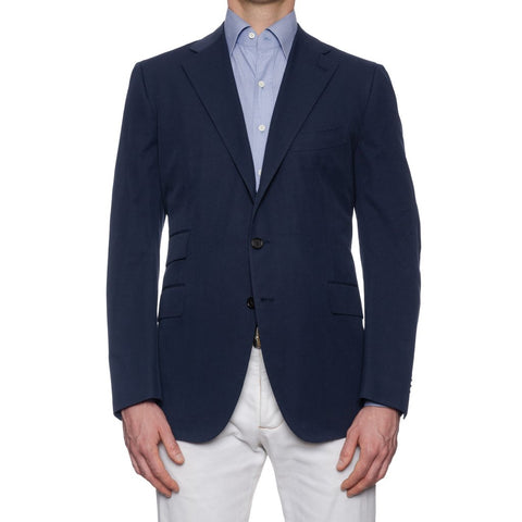 CESARE ATTOLINI Hand Made Navy Blue Cotton Blazer Jacket NEW Regular