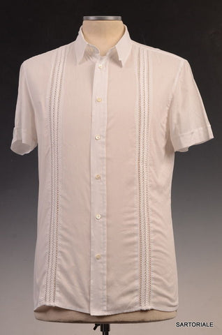 JOHN RICHMOND White Cotton Slim Fit Short Sleeve Casual Shirt US XS NEW EU 46 - SARTORIALE - 1